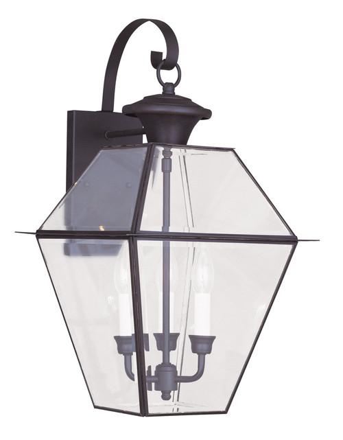 LIVEX Lighting 2381-07 Westover Outdoor Wall Lantern in Bronze (3 Light)
