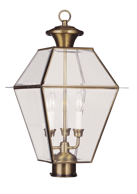LIVEX Lighting 2384-01 Westover Outdoor Post Lantern in Antique Brass (3 Light)