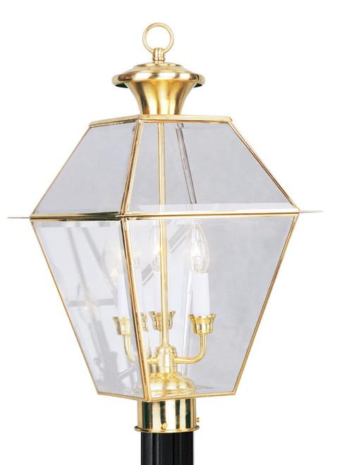 LIVEX Lighting 2384-02 Westover Outdoor Post Lantern in Polished Brass (3 Light)