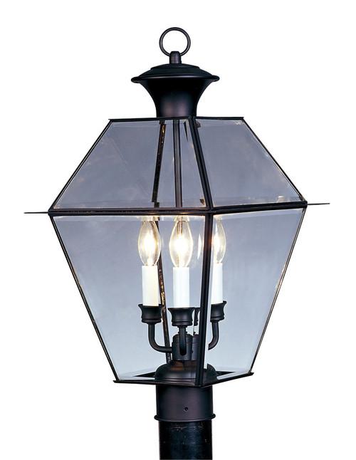 LIVEX Lighting 2384-04 Westover Outdoor Post Lantern in Black (3 Light)