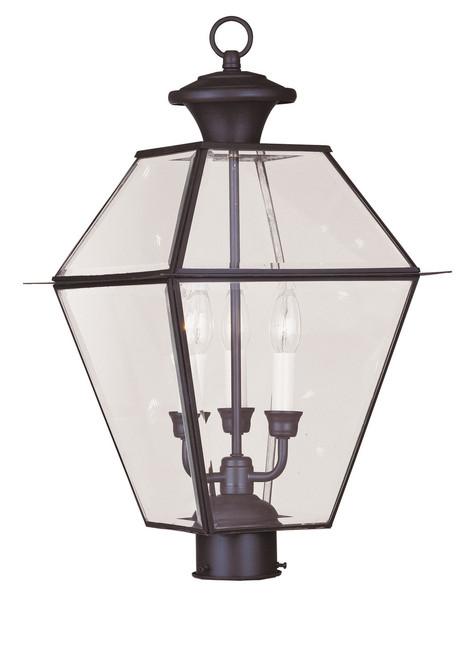 LIVEX Lighting 2384-07 Westover Outdoor Post Lantern in Bronze (3 Light)