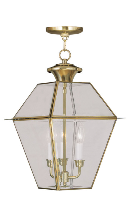 LIVEX Lighting 2385-02 Westover Outdoor Chain Lantern in Polished Brass (3 Light)