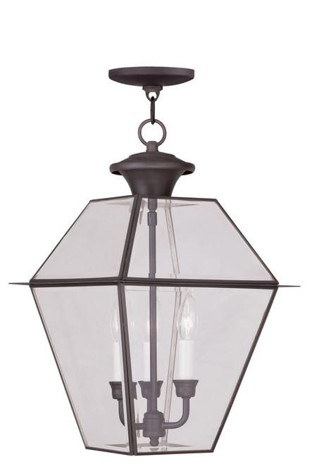 LIVEX Lighting 2385-07 Westover Outdoor Chain Lantern in Bronze (3 Light)