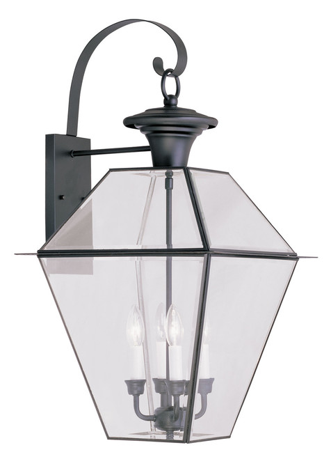 LIVEX Lighting 2386-04 Westover Outdoor Wall Lantern in Black (4 Light)