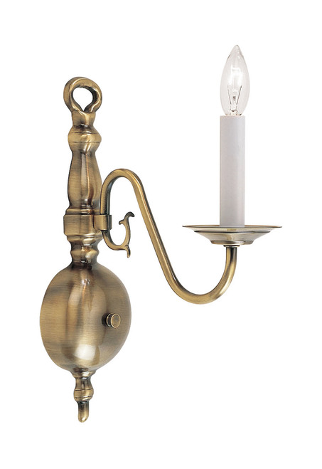 LIVEX Lighting 5001-01 Williamsburgh Wall Sconce in Antique Brass (1 Light)