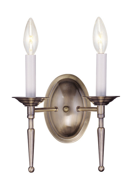 LIVEX Lighting 5122-01 Williamsburgh Wall Sconce in Antique Brass (2 Light)