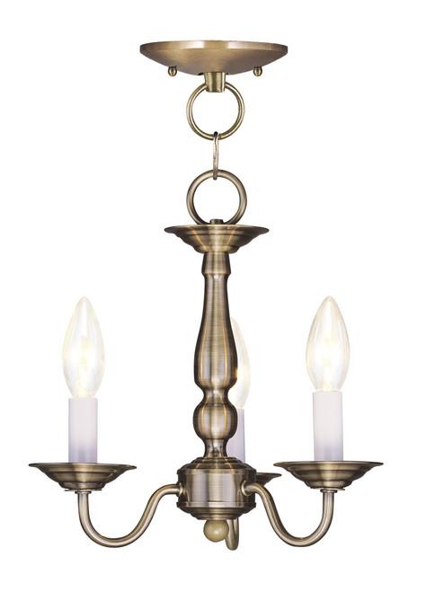 LIVEX Lighting 5009-01 Williamsburgh Convertible Chain Hung/Flushmount in Antique Brass (3 Light)