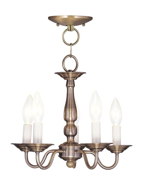 LIVEX Lighting 5011-01 Williamsburgh Convertible Chain Hung/Flushmount in Antique Brass (5 Light)