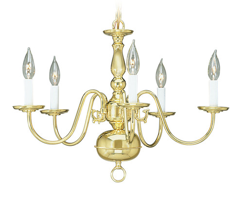 LIVEX Lighting 5005-02 Williamsburgh Chandelier in Polished Brass (5 Light)