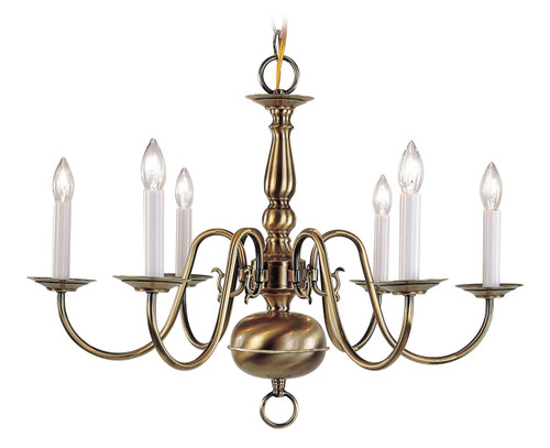 LIVEX Lighting 5006-01 Williamsburgh Chandelier in Antique Brass (6 Light)