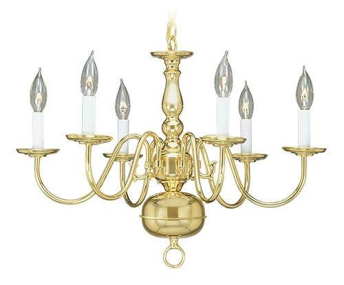 LIVEX Lighting 5006-02 Williamsburgh Chandelier in Polished Brass (6 Light)