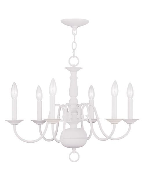 LIVEX Lighting 5006-03 Williamsburgh Chandelier in White (6 Light)