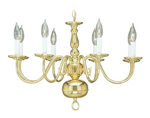 LIVEX Lighting 5008-02 Williamsburgh Chandelier in Polished Brass (8 Light)