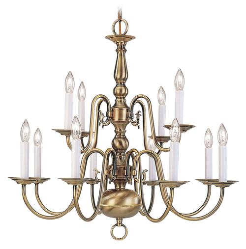 LIVEX Lighting 5012-01 Williamsburgh Chandelier in Antique Brass (12 Light)