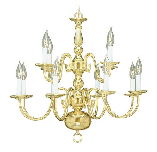 LIVEX Lighting 5012-02 Williamsburgh Chandelier in Polished Brass (12 Light)
