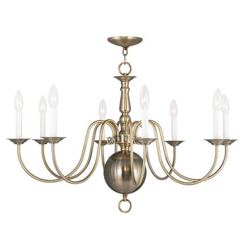 LIVEX Lighting 5007-01 Williamsburgh Chandelier in Antique Brass (8 Light)