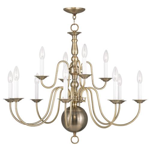 LIVEX Lighting 5014-01 Williamsburgh Chandelier in Antique Brass (12 Light)
