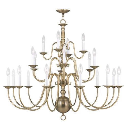 LIVEX Lighting 5015-01 Williamsburgh Chandelier in Antique Brass (22 Light)