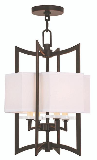 LIVEX Lighting 50703-67 Woodland Park Foyer Chandelier in Olde Bronze (4 Light)