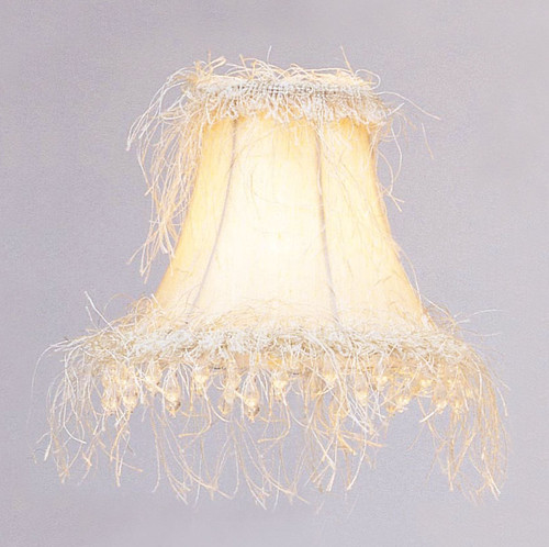 LIVEX Lighting S106 Off-White Silk Bell Clip Shade with Corn Silk Fringe and Beads