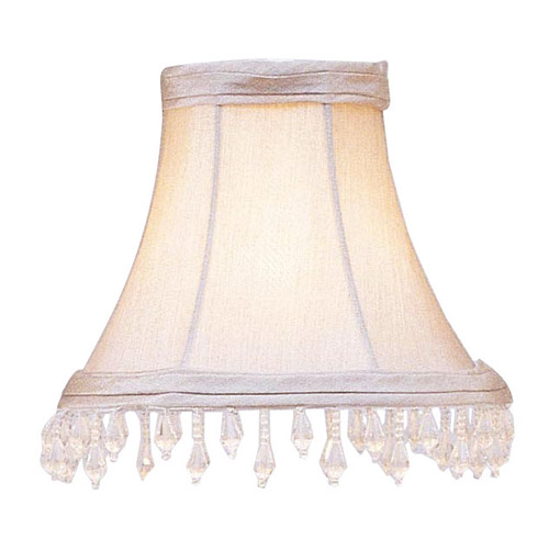 LIVEX Lighting S144 Pewter Bell Clip Shade with Clear Beads