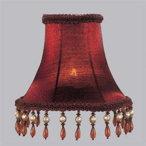 LIVEX Lighting S158 Red Silk Bell Clip Shade with Amber Beads