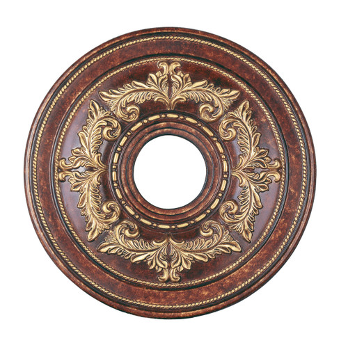 LIVEX Lighting 8205-63 Ceiling Medallion in Verona Bronze with Aged Gold Leaf Accents