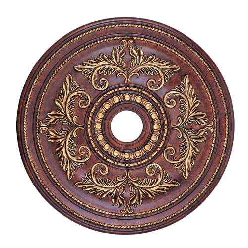 LIVEX Lighting 8210-63 Ceiling Medallion in Verona Bronze with Aged Gold Leaf Accents