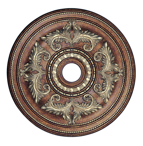 LIVEX Lighting 8210-64 Ceiling Medallion in Palacial Bronze with Gilded Accents