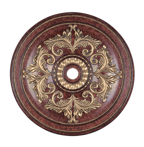 LIVEX Lighting 8228-63 Ceiling Medallion in Verona Bronze with Aged Gold Leaf Accents