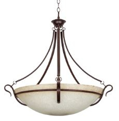 Rubbed Bronze Finish Sunset Lighting F7652-62 Flush Mount with Tea Stained Glass