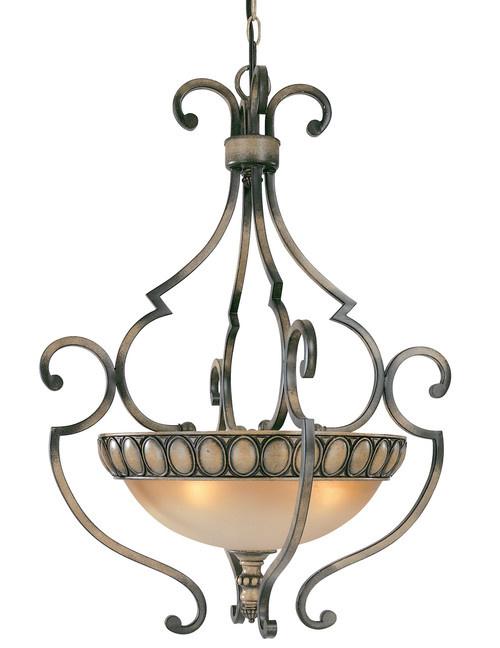 Classic Lighting 92718 HRW Westchester Wrought Iron Pendant in Honey Walnut