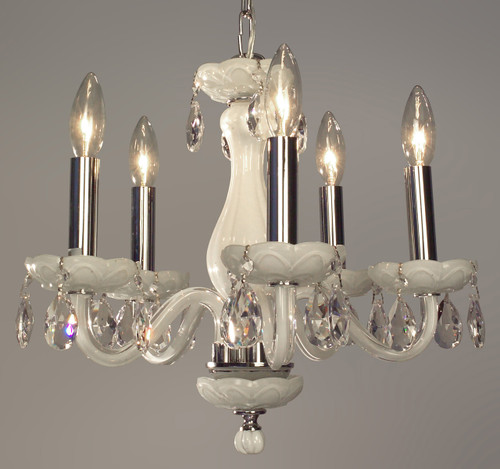 Classic Lighting 82045 WHT CPPR Monaco Crystal Chandelier in White (Imported from Spain)