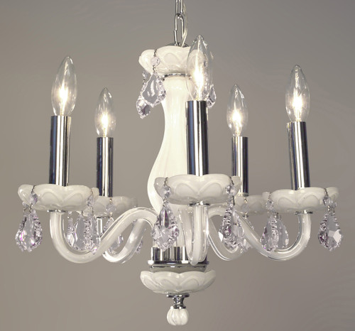 Classic Lighting 82045 WHT CPFR Monaco Crystal Chandelier in White (Imported from Spain)