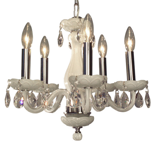 Classic Lighting 82045 WHT CP Monaco Crystal Chandelier in White (Imported from Spain)