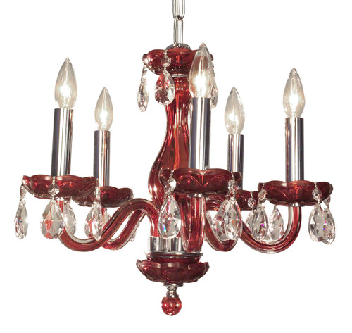 Classic Lighting 82045 RED CP Monaco Crystal Chandelier in Red (Imported from Spain)