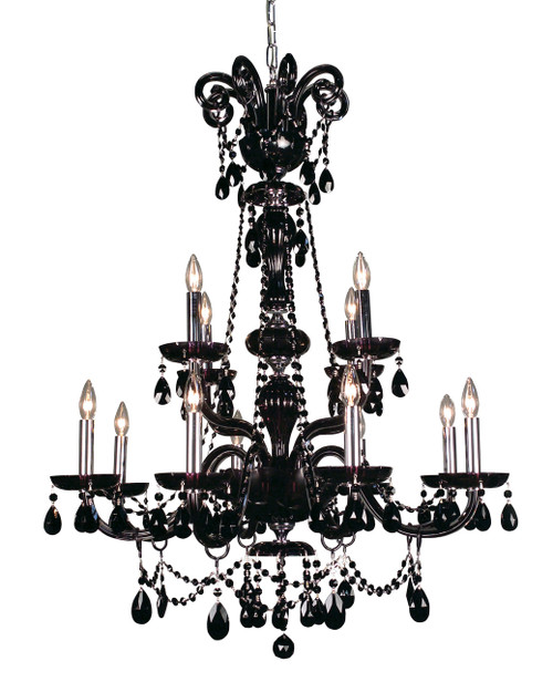Classic Lighting 82018 SJT Monte Carlo Elite Crystal Chandelier in Black (Imported from Spain)
