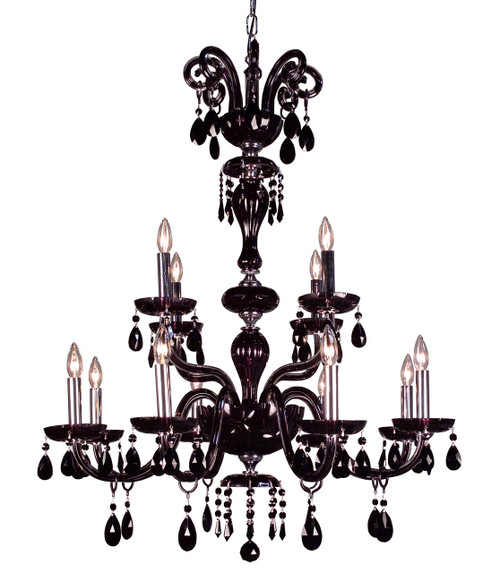 Classic Lighting 82008 SJT Monte Carlo Crystal Chandelier in Black (Imported from Spain)