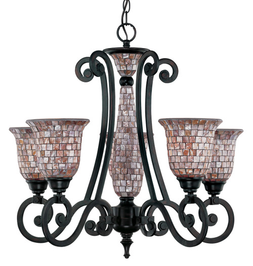 Classic Lighting 71145 ORB Pearl River Wrought Iron Chandelier in Oil-Rubbed Bronze