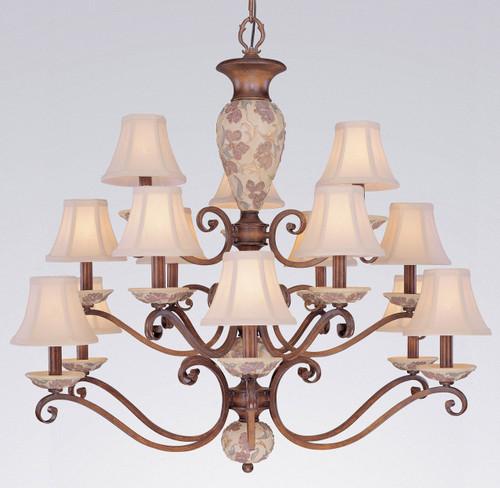 Classic Lighting 71059 HW Tapestry Glass/Resin Chandelier in Honey Walnut