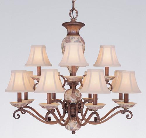 Classic Lighting 71058 HW Tapestry Glass/Resin Chandelier in Honey Walnut