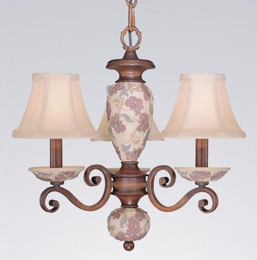 Classic Lighting 71055 HW Tapestry Glass/Resin Mini Chandelier in Honey Walnut