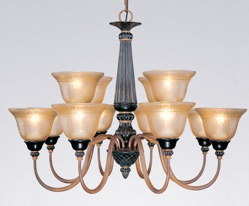 Classic Lighting 71038 VBR Vintage Glass/Resin Chandelier in Vintage Bronze