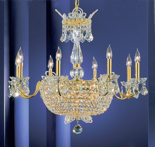 Classic Lighting 69788 GP CP Crown Jewels Crystal Chandelier in Gold