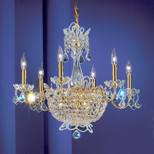 Classic Lighting 69786 GP CP Crown Jewels Crystal Chandelier in Gold