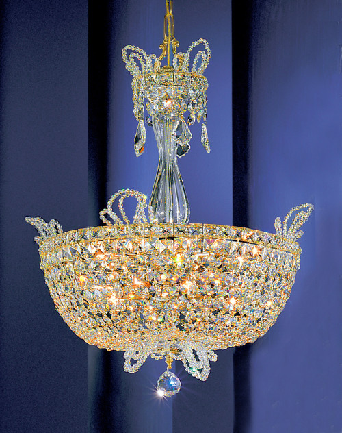 Classic Lighting 69783 GP S Crown Jewels Crystal Pendant in Gold