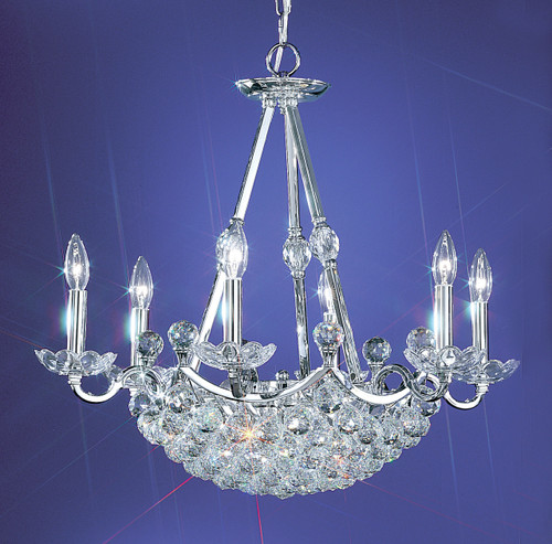 Classic Lighting 69776 CH S Solitaire Crystal Chandelier in Chrome