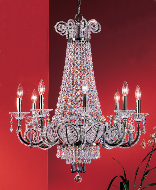 Classic Lighting 69758 EP DCL S Beaded Leaf Crystal Chandelier in Ebony Pearl