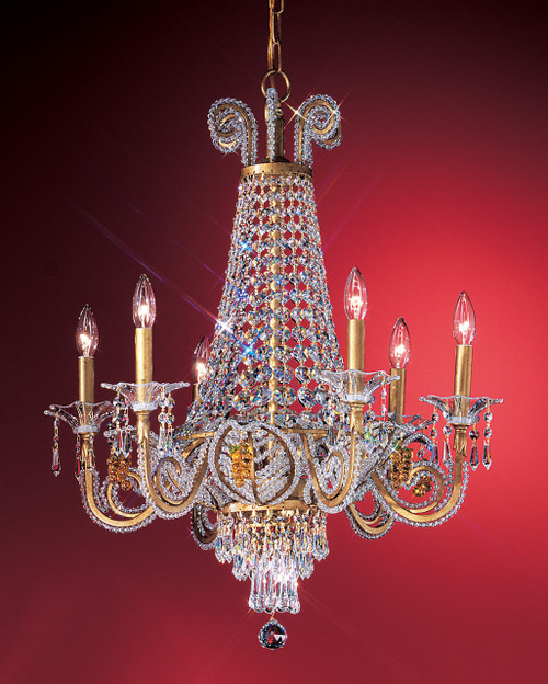 Classic Lighting 69756 OG GST Beaded Leaf Crystal Chandelier in Olde Gold