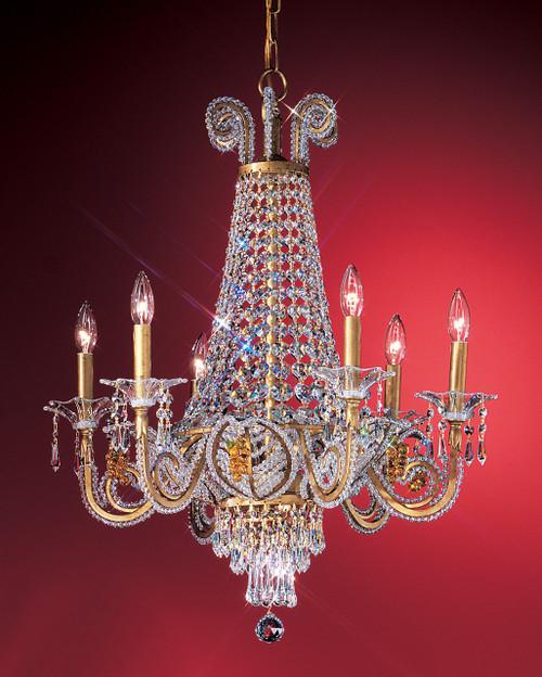 Classic Lighting 69756 OG DAMSC Beaded Leaf Crystal Chandelier in Olde Gold